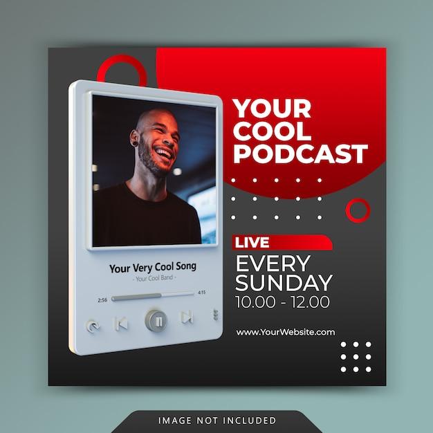 Promozione del canale podcast per modelli di storie di post sui social media Psd Premium
