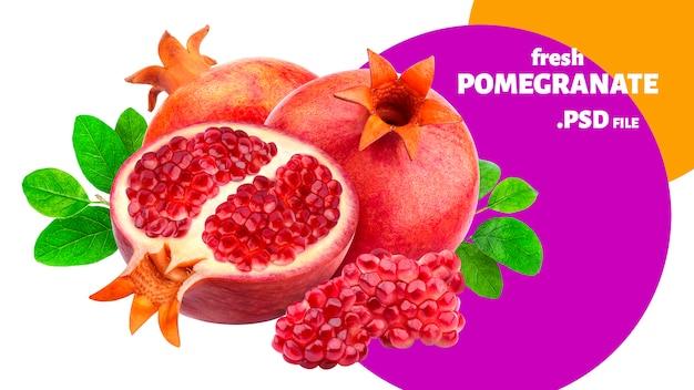Insegna di frutti del melograno isolata Psd Premium