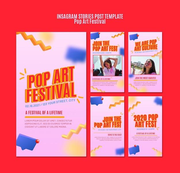 Modello di storie instagram festival pop art Psd Premium