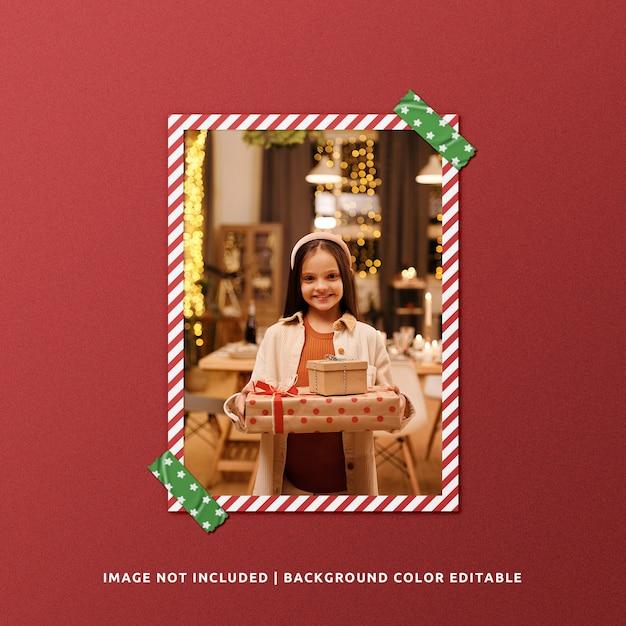 Mockup di cornice di carta ritratto per natale Psd Premium
