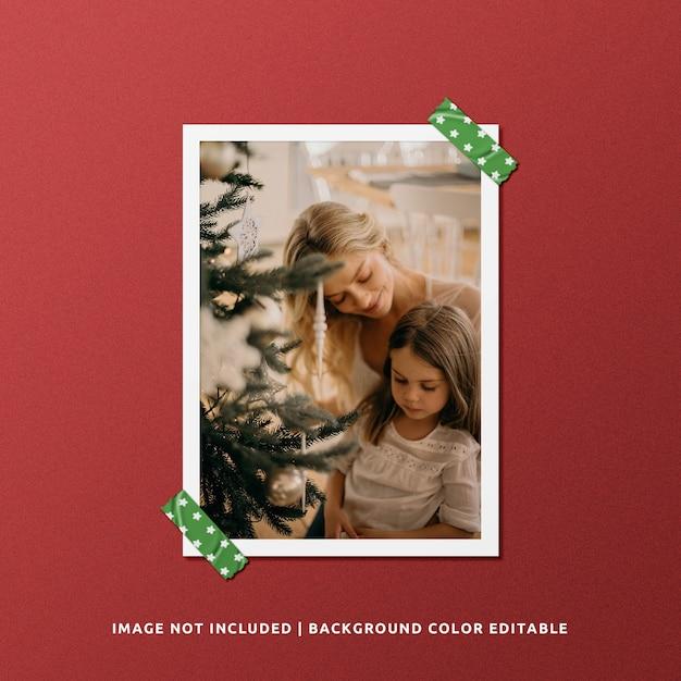 Mockup di foto con cornice di carta verticale per natale Psd Premium