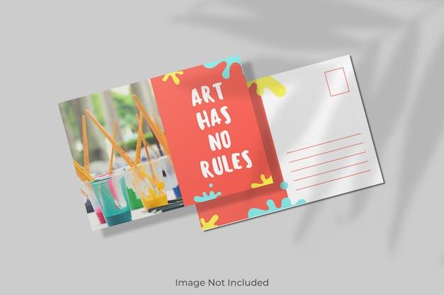 Mockup di cartolina con sovrapposizione di ombre Psd Premium