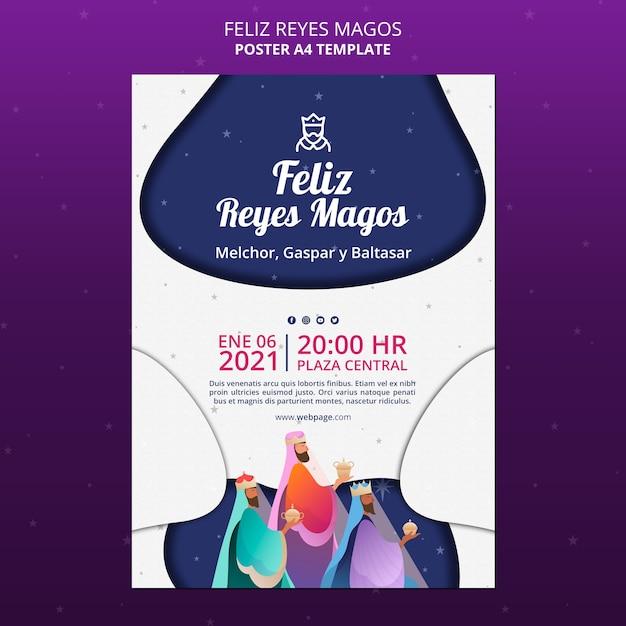 Poster modello feliz reyes magos Psd Premium