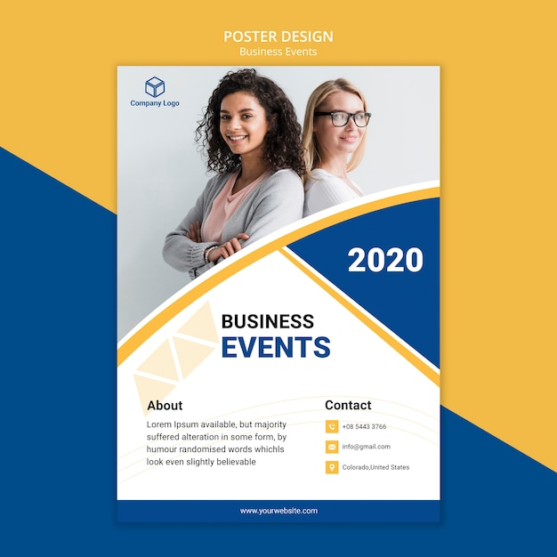 Volantino di poster per il concetto di modello di business Psd Premium