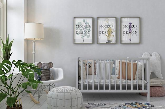 Mockup di cornice poster all'interno della stanza della scuola materna Psd Premium