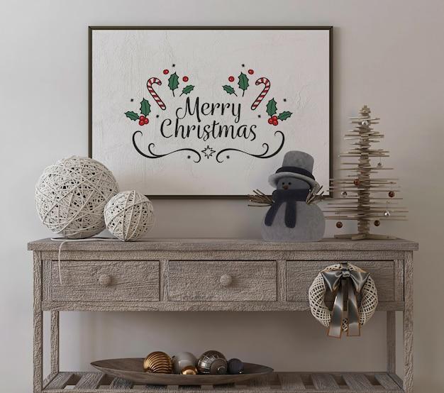 Mockup di cornice per poster in interni vintage con albero di natale e decorazioni Psd Premium