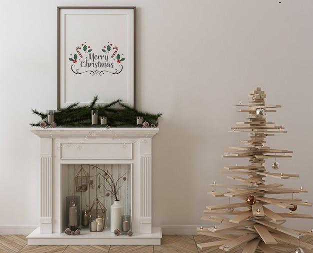Mockup di cornice per poster con albero di natale in legno, decorazioni e regali Psd Premium