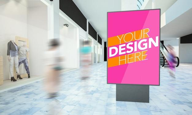 Mockup di poster lightbox in un viale del centro commerciale Psd Premium