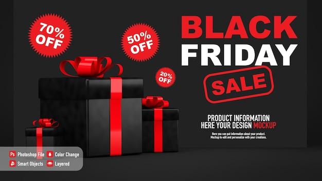 Mockup di poster per il black friday con scatole regalo Psd Premium