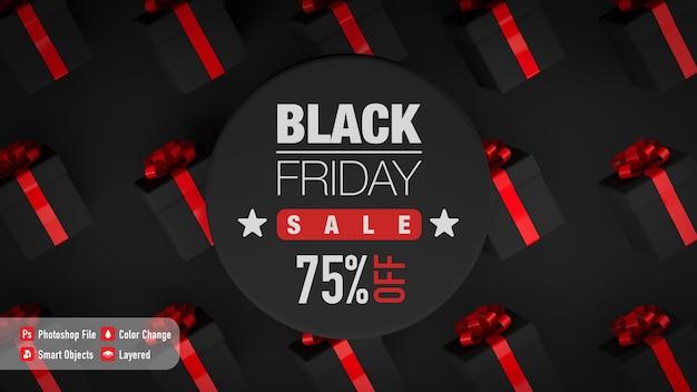 Mockup di poster per il black friday con alcune confezioni regalo Psd Premium