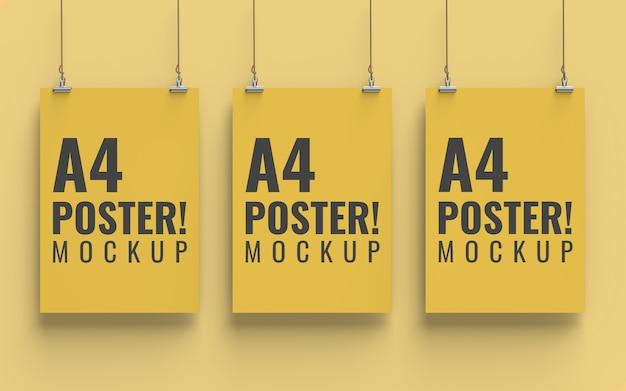 Poster mockup vista frontale formato a4 Psd Premium
