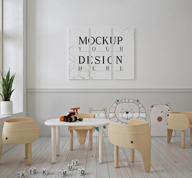 Mockup di poster nella moderna scuola materna carina Psd Premium