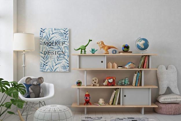 Mockup di poster in una semplice sala giochi Psd Premium