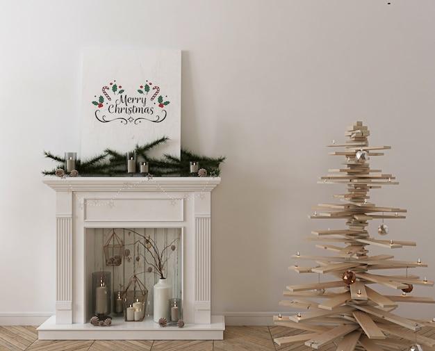 Mockup di poster con albero di natale in legno, decorazioni e regali Psd Premium