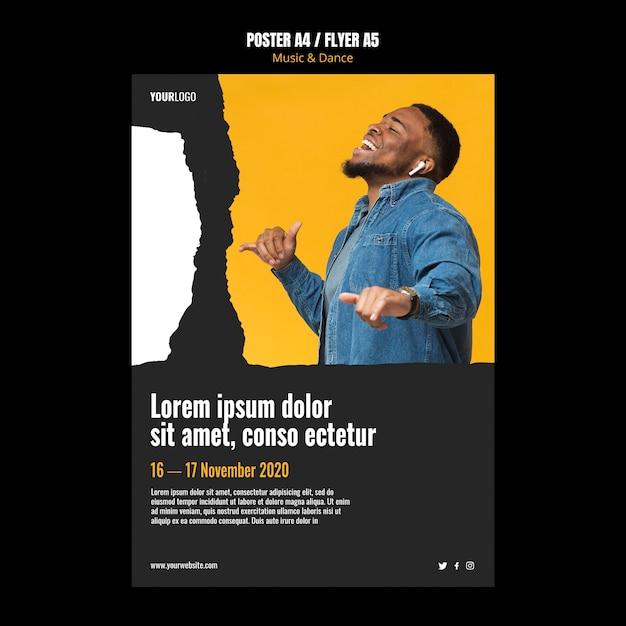 Poster modello di evento di musica e danza Psd Premium