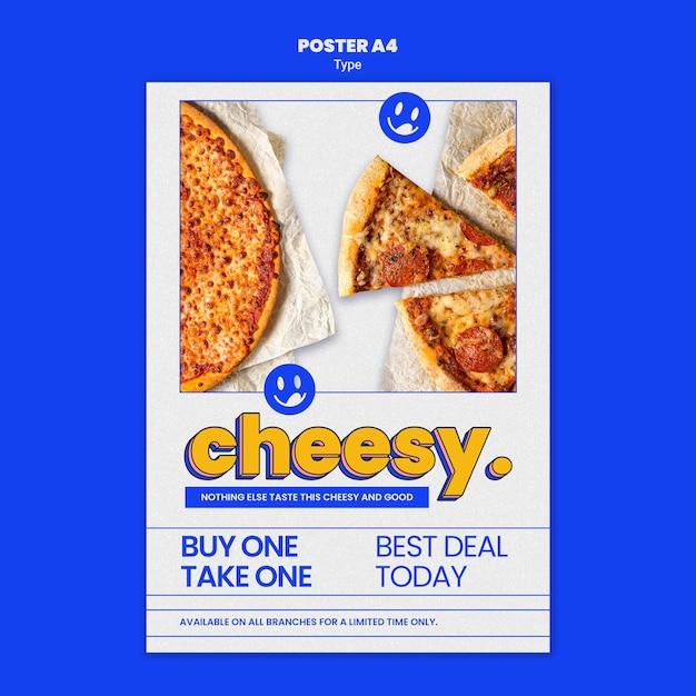 Modello di poster per il nuovo sapore di pizza di formaggio Psd Premium