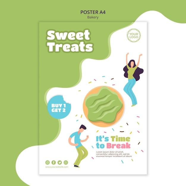 Modello di poster per ciambelle dolci al forno Psd Premium