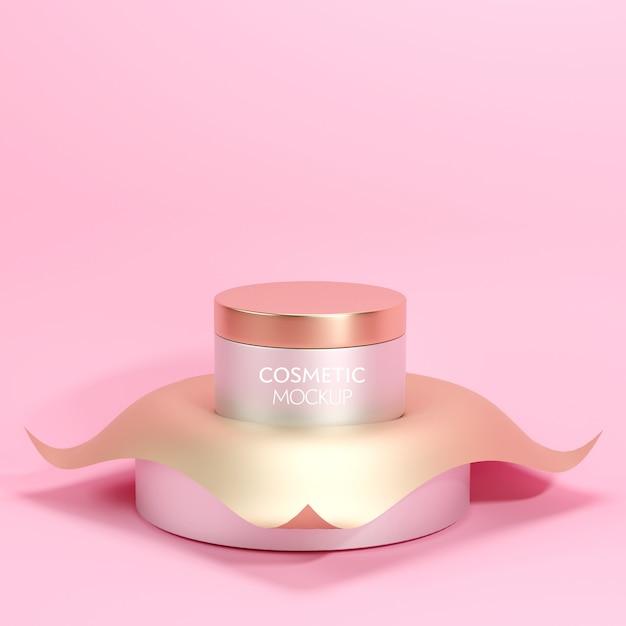Modello di mockup contenitore cosmetico premium vaso su fondo oro minimo Psd Premium