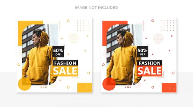 Set di modelli di post di printfashion instagram Psd Premium