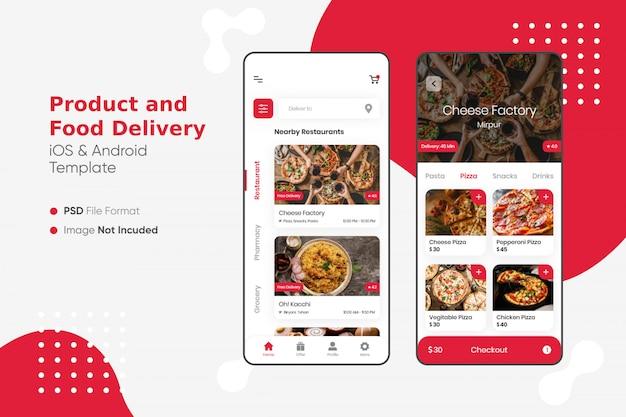 Ui per la consegna di prodotti e alimenti Psd Premium