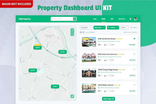 Kit dell'interfaccia utente del dashboard del property finder Psd Premium
