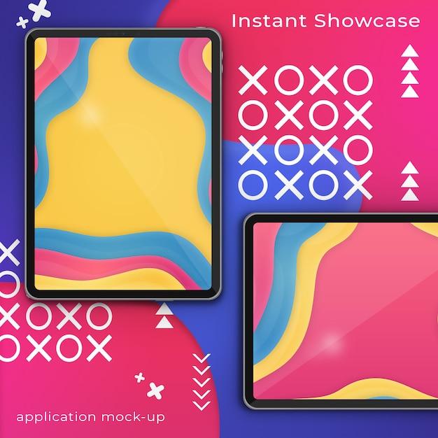Modello psd di due pixel perfetto ipad su uno sfondo colorato astratto Psd Premium
