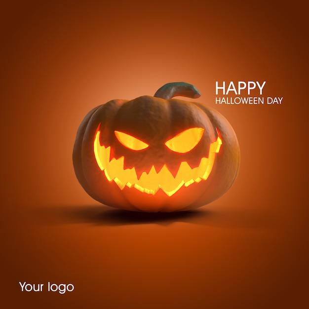Mockup di poster di zucca di halloween Psd Premium