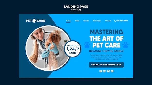 Modello di pagina di destinazione per la cura degli animali domestici di qualità Psd Premium