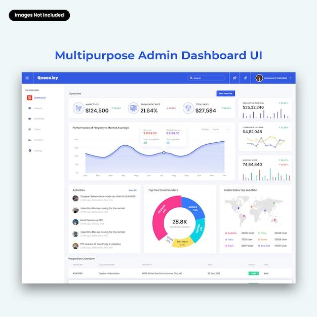 Interfaccia utente del dashboard di amministrazione multiuso queenley Psd Premium