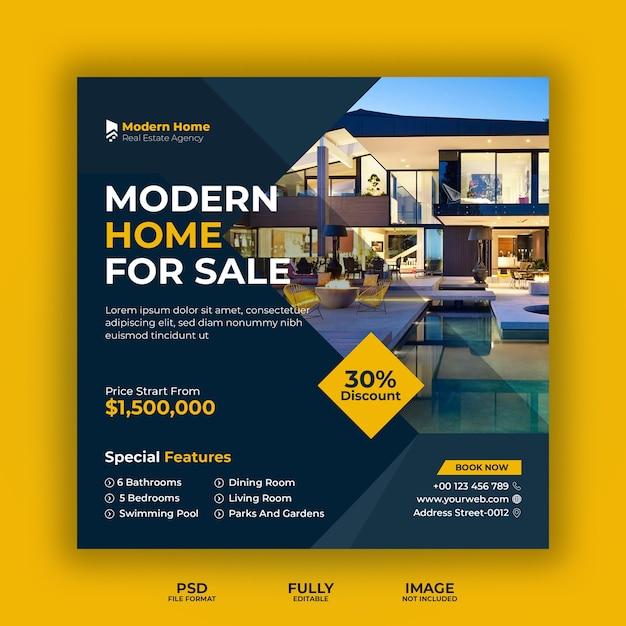 Modello di banner di social media di affari immobiliari Psd Premium