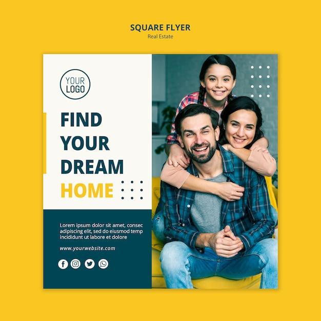 Volantino quadrato concetto immobiliare Psd Premium