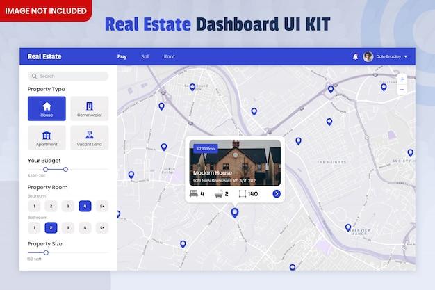 Kit dell'interfaccia utente del dashboard del finder immobiliare Psd Premium