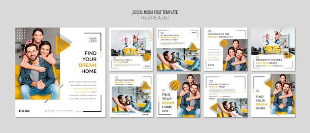 Modello di post sui social media immobiliari Psd Premium