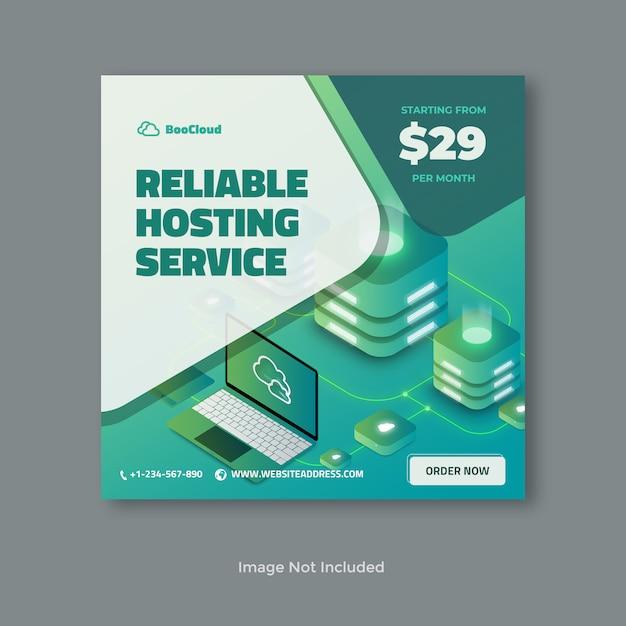 Banner del server di hosting affidabile Psd Premium