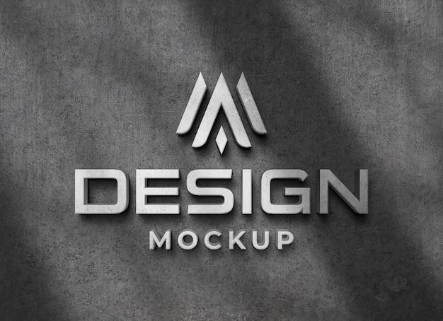 Mockup di logo 3d realistico su muro di cemento con sovrapposizione di ombre Psd Premium