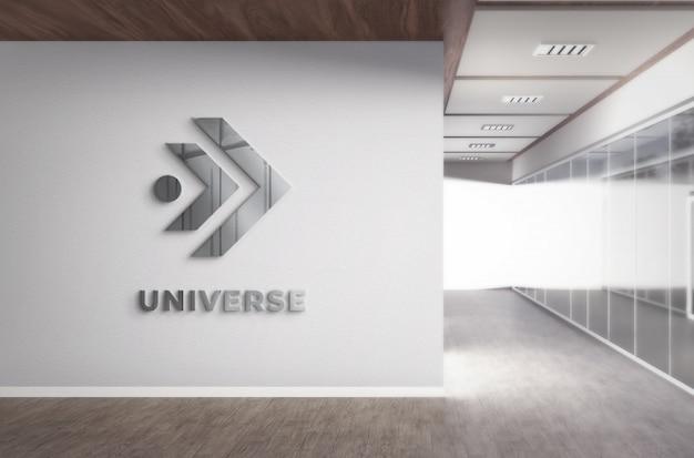 Realistico 3d logo mockup office wall con struttura d'acciaio realistica Psd Premium