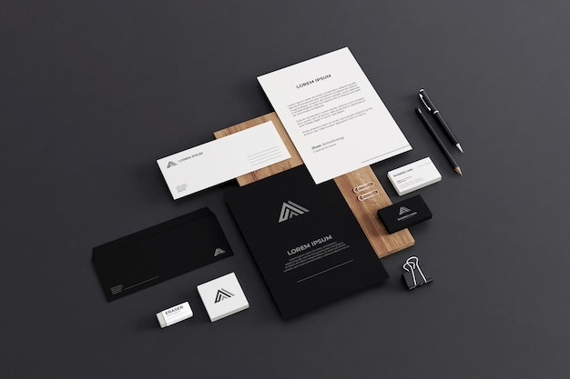 Realistic business stationery mockup company Psd Premium
