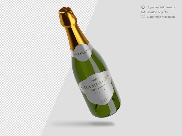 Modello di mockup di bottiglia di champagne galleggiante realistico Psd Premium