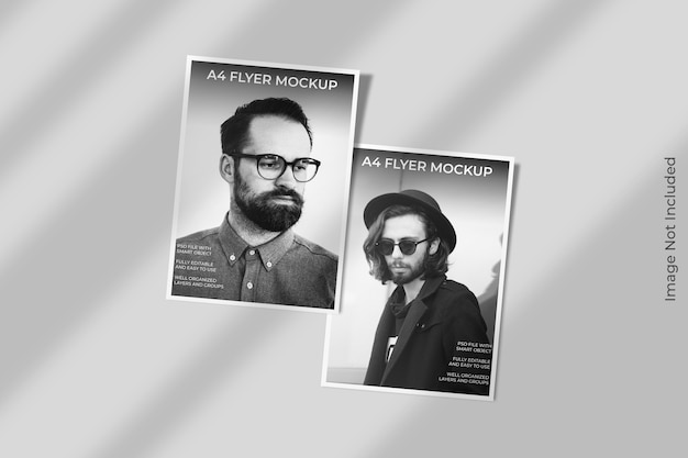 Mockup di brochure flyer realistico con sovrapposizione di ombre Psd Premium