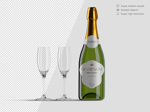 Modello realistico del modello della bottiglia di champagne di vista frontale con i vetri Psd Premium