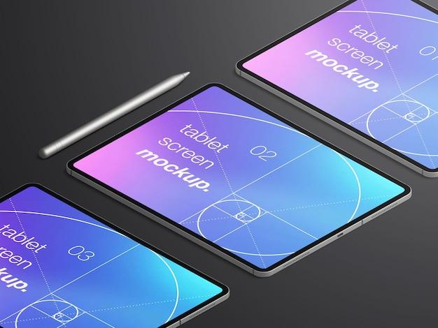 Mockup isometrico realistico isolato di schermi di dispositivi tablet con matita stilo Psd Premium