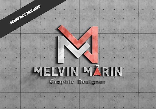 Mockup logo realistico sul muro di cemento Psd Premium