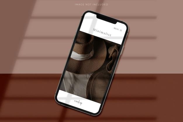 Creatore di scene realistiche per smartphone mobile mockup con sovrapposizione di ombre. modello per l'app di design del sito web aziendale globale di identità di branding Psd Premium