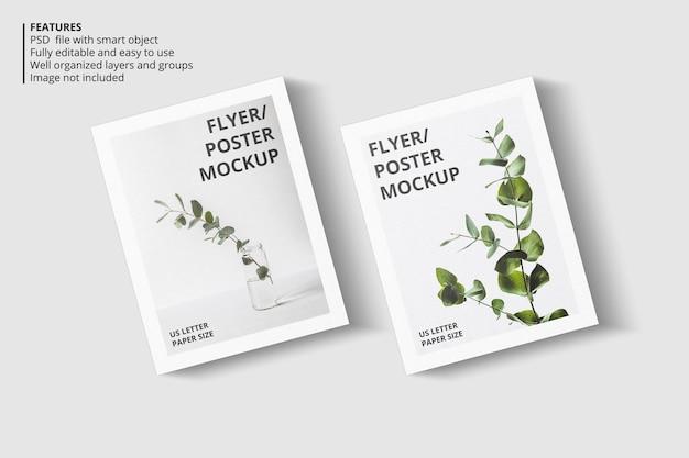 Design realistico di mockup di brochure in carta o volantino Psd Premium