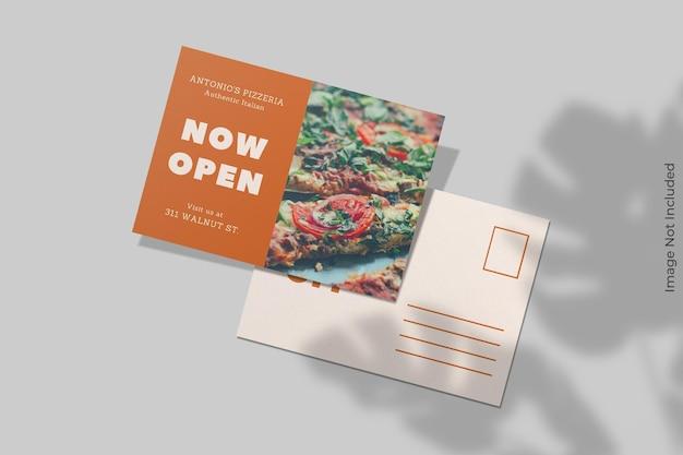Design realistico mockup cartolina con sovrapposizione di ombre Psd Premium