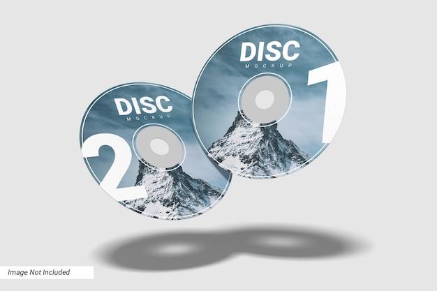 Set realistico di due mockup di compact disc Psd Premium