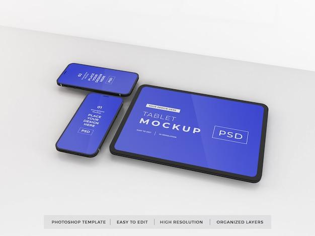 Modello realistico di mockup di smartphone e tablet Psd Premium