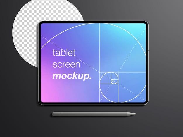 Mockup realistico di vista dall'alto isolato dello schermo del dispositivo tablet con la matita dello stilo Psd Premium