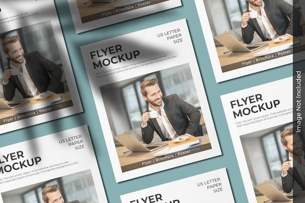 Mockup di volantino per lettere americane realistico con sovrapposizione di ombre Psd Premium