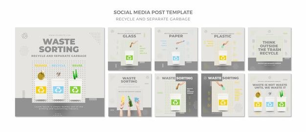 Riciclare il concetto di social media post template Psd Premium